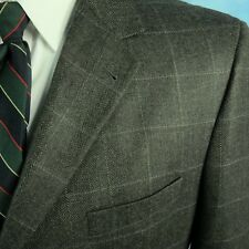 Jos A Bank Mitchell 46R Gray Wool Windowpane Plaid Herringbone Blazer Sportcoat
