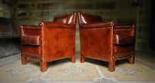 PAIR of ANDREW MARTIN MARLBOROUGH LIBERTY CHESTNUT BROWN ANTIQUE LEATHER CHAIRS