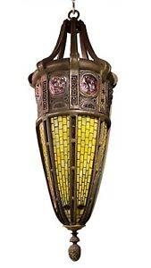 Tiffany Style Turtleback Tile Lantern Chandelier