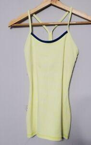 Lululemon Power Y Tank Top Size 2 Womens Shirt Yellow Stripe Athletic Run Yoga