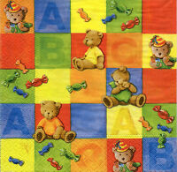 4 Servietten Napkins Tovaglioli Motivservietten Teddybären Teddys Bären (1133)