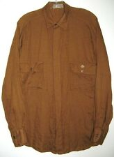 GUCCI SHIRT BROWN LONG SLEEVE JKJ INITIALS DOUBLE POCKET Vintage 1970's ITALY M