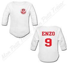 Body Bébé Football Equipe Nationale Tunisie avec prénom et numéro personnalisés