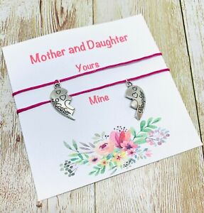 Mum Mother And Daughter Wish Bracelets pink cord Mates Broken Heart love family