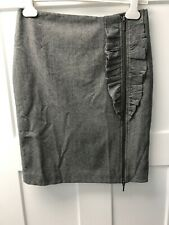 Banana Republic Women's Stretch Pencil Ruffle Zipper Design Grey 4