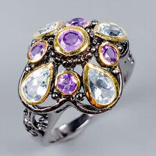 Fashion Design Natural Blue Topaz 925 Sterling Silver Ring Size 8/R119452
