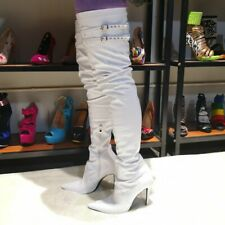 Womens Over-The-Knee Boots Patent Leather Stiletto High Heels Pointed Toe Shoes