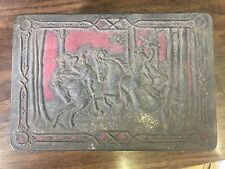 Vintage Riley's Toffee Hinged Embossed Falconry Horse Medieval England Tin Box