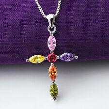 Sterling Silver Shiny Micro Muti-Coloured Colourful CZ Cross Necklace Pendant