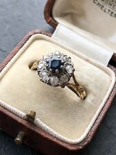 Vintage 18ct Yellow Gold Sapphire And Diamond Cluster Rings