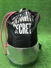 New Victorias Secret PINK Draw String Backpack Bag Black Gymsack Cinch Bag