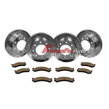 Front &Rear Drilled Slotted Brake Rotors & Ceramic Pads Chevy GMC 2500 3500 HD