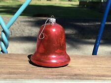 """Occupied Japan Red Glass Bell Ornaments 2.5"""" Tall 2""""Wide Chippy  Mercury Look #9"""