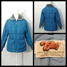 Comfy Vintage Down Jacket Women's Medium Blue Full Zip Faux Fur Collar Inv#Z1830