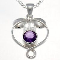 "Sterling Silver & Amethyst Charles Rennie Mackintosh Necklace with 18"" Chain"