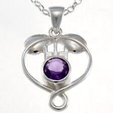 Collares y colgantes de joyería con gemas plata amatista
