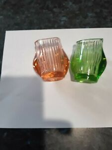 Pink and Green Glass Vases, Ribbed and Oblong.