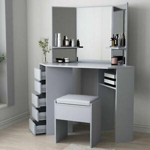 Grey Corner Dressing Table Set Mirror Make Up Table Makeup Desk Dresser Vanity