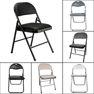 Folding Chairs Padded Faux Leather Studying Dining Office Event Chair New