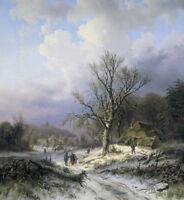 "stunning art oil painting  handpainted on canvas ""Snow landscape"""