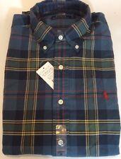 Bnwt homme ralph lauren à manches longues bleu vert plaid chemise taille s rrp £ 85.00