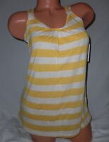 Womens Striped Racer Back Tank Top S Gold & Off White New
