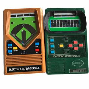 2002 Classic Football 2 & Baseball 2001 Handheld Electronic Game Mattel Lot