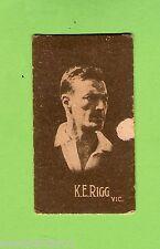1930s  ALLEN'S STEAM ROLLERS  CRICKET CARD  K. E. RIGG, VICTORIA