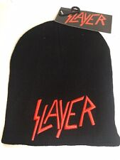 Slayer Black w/Red Embroidered Logo Metal Beanie Hat New