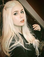 """24"""" White Blonde Wig Long Wavy Synthetic Hair Lace Front Wigs for Women Cosplay"""