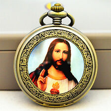 X'mas Gift VINTAGE Jesus God SILVER WHITE MENS POCKET WATCH GLASS+FREE CHAIN