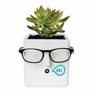 Eyeglasses Holder Planter - Ceramic Dry Erase Face Flower Pot with Glasses Stand