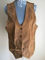 Womens Waistcoat Size 16 Brown Genuine Suede Leather Popper Pockets V Neckline