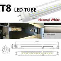 4ft T8 LED Tube Bulb 4000K-4500K G13 Double-Ended Natural White Cear Cover Bulbs