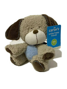 """Carters Smiley Happy Friends Puppy Dog Plush Rattle Tan Blue Beanbag Baby toy 7"""""""