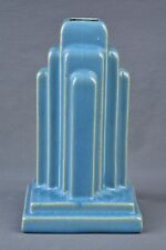 Muncie Pottery 1928 Gloss Blue Art Deco Skyscraper Lamp Base #U 45-5