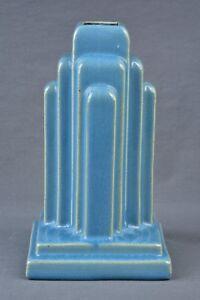 Muncie Pottery 1928 Gloss Blue Art Deco Skyscraper Lamp Base #U 45-5