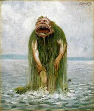 Theodor Kittelsen 1881 l'eau Troll qui mange seulement les jeunes filles art toile