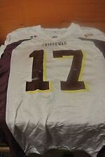 Central Michigan University White Game Used Football Jersey Size 46 #17