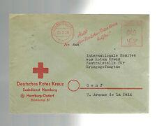 1956 Hamburg Germany Red Cross Metered Cover to POW Committee Geneva switzerland