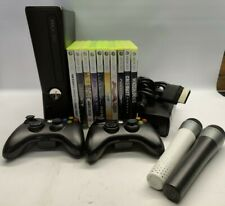 Xbox 360 Slim 250gb Bundle 2 Controllers Song Lips 10 Games Black