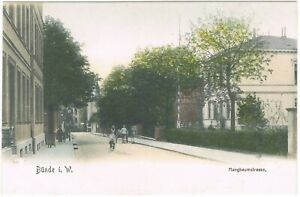 Ansichtskarte Bünde/Westfalen - Blick in die Hangbaumstrasse mit Passanten RARE