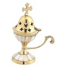 Greek Christian Orthodox Brass Church Censer Incense Burner With Cross 9318mop 1
