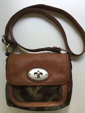 Fossil Maddox Chestnut Leather & Tapestry Crossbody Shoulder Bag