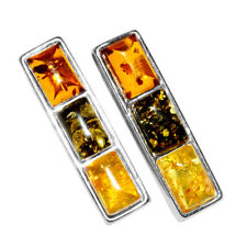 2.77g Authentic Baltic Amber 925 Sterling Silver Earrings Jewelry N-A5921