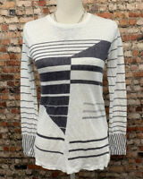 Vince Women's Size S Ivory Gray Crew Neck Long Sleeve Top Blouse #C90