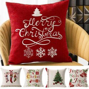 Christmas Pillow Case Cushion Cover Xmas Santa Claus Tree Snow Home Decor 45*45