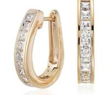 Pave 1.50 Cts Princess Cut Natural Diamonds Hoop Earrings In Certified 18K Gold