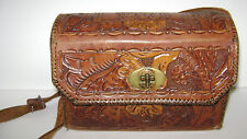 "VINTAGE LEATHER HAND TOOLED PURSE FLOWERED USED BUT NICE 21"" W/ STRAP"