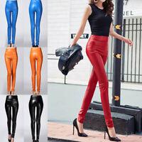 Womens Ladies PU Leather Wet Look Leggings High Waist Stretch Warm Trouser Pants